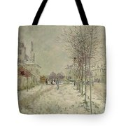 Snow Effect Tote Bag by Claude Monet