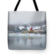 Snow Falling On Boathouse Row Tote Bag