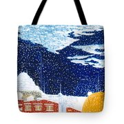 snow falling on Istanbul Tote Bag