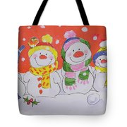 Snow Family Tote Bag by Diane Matthes