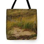 Snow Fence In Sand Tote Bag