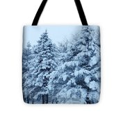 Snow Flocked Pines Tote Bag
