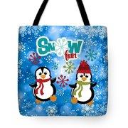 Snow Fun Penguins Tote Bag