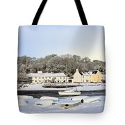 Snow In Red Wharf Bay Wales Tote Bag
