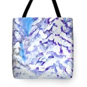 Snow Laden Trees Tote Bag