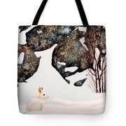 Snow Ledges Rabbit Tote Bag