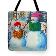 Snow Mom And Son Tote Bag