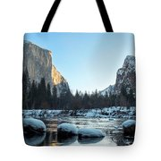 Snow On Large Rocks With El Capitan In The Background Tote Bag