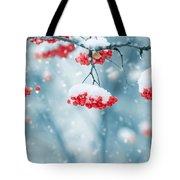 Snow On Red Berries Tote Bag