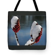 Snow On Sumach Tote Bag