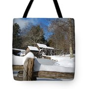 Snow On The Old Time Mill Tote Bag