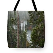 Snow On The Yellowstone River Tote Bag