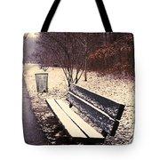 Snow Park Bench Tote Bag