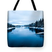 Snow River Horizon Tote Bag