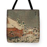 Snow Scene At Sens Ji Temple At Kinry Zan In The Eastern Capital Tote Bag