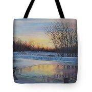 Snow Scene At Sunset Tote Bag