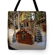 Snow Scene With Train Tote Bag
