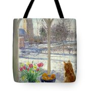 Snow Shadows And Cat Tote Bag