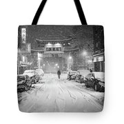 Snow Storm In Chinatown Boston Chinatown Gate Black And White Tote Bag