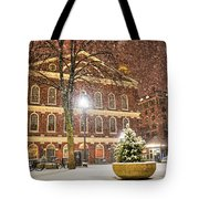 Snow Storm In Faneuil Hall Quincy Market Boston Ma Tote Bag
