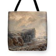 Snow Storm On A Northern Coast Tote Bag