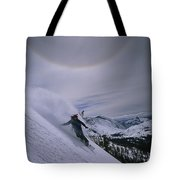 Snowboarding Down A Peak In Yosemite Tote Bag