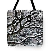 Snowfall And Tree Tote Bag