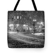 Snowfall In Harvard Square Cambridge Ma 2 Black And White Tote Bag