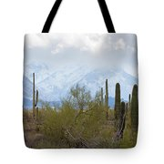 Snowfall On The Mountains Tote Bag