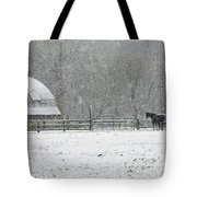 Snowing At The Round Barn Tote Bag