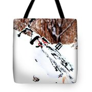 Snowing On The Bicycle Tote Bag