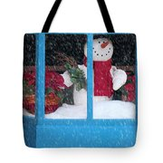 Snowman And Poinsettias - Frosty Christmas Tote Bag