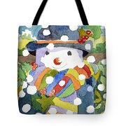 Snowman In Snow Tote Bag