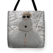 Snowman On The Beach Tote Bag
