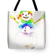 Snowman With Rainbow 1 Tote Bag