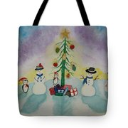 Snowmen On Ice Tote Bag