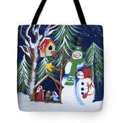Snowmen With Creche Tote Bag