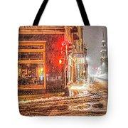 Snowstorm On Tremont Street Boston Ma Park Street Church Tote Bag