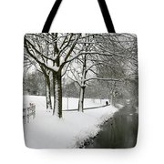 Walking On A Snowy Area Tote Bag