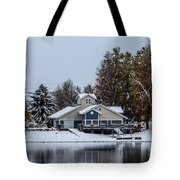 Snowy Boat House Tote Bag