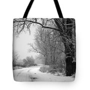 Snowy Branch Over Country Road - Black And White Tote Bag