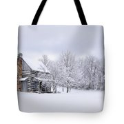 Snowy Cabin Tote Bag by Benanne Stiens