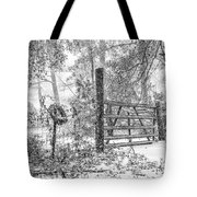 Snowy Cattle Gate Tote Bag