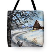 Snowy Chalet Tote Bag