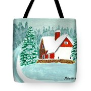 Snowy Cottage Tote Bag