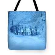 Snowy Country Lane Tote Bag