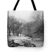 Snowy Day On Redd's Pond And Old Burial Hill Tote Bag