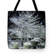 Snowy Dogwood Tree At Night Tote Bag