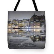 Snowy, Dreamy Reflection In Stockholm Tote Bag