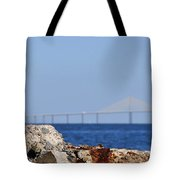 Snowy Egret And Sunshine Skyway Bridge Tote Bag